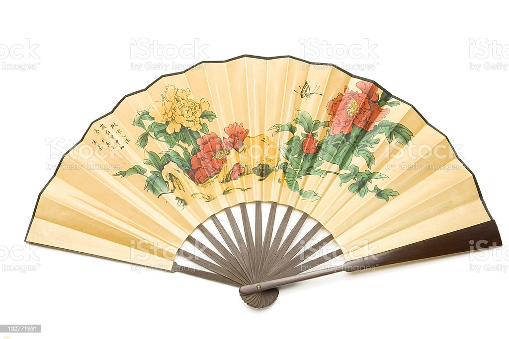 Asian silk fan with flowers and butterfly. royalty-free stock photo