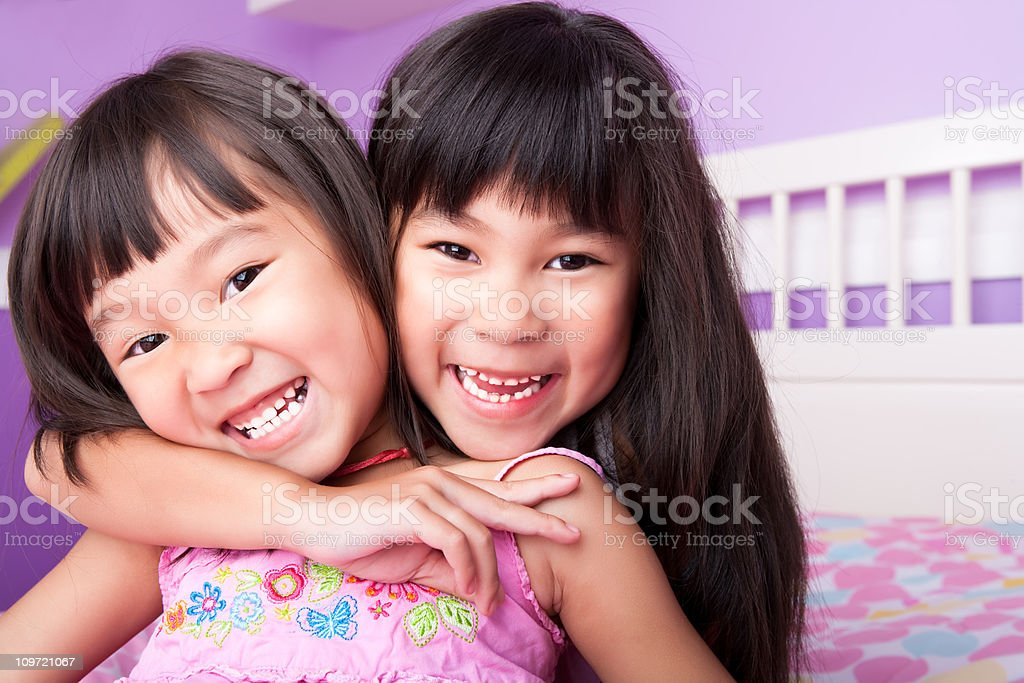Asian Sisters Portrait royalty-free stock photo