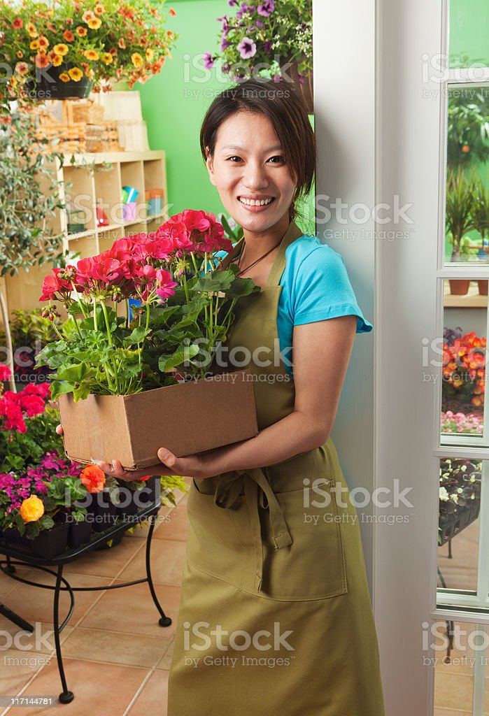 Asian Small Business Owner of Retail Flower Garden Center Vt royalty-free stock photo