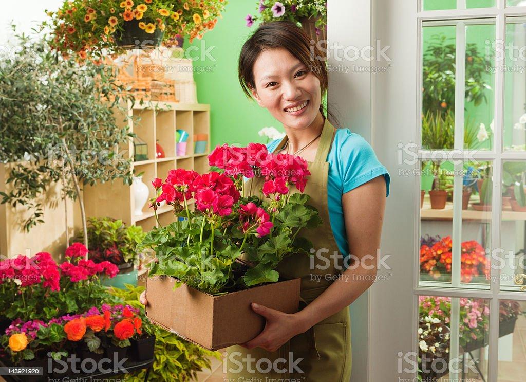 Fotografía de Asian Pequeños Negocios Dueño De Venta De Flores Del ...