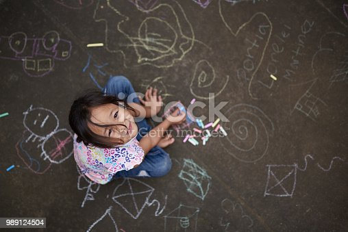 istock Asian small girl with chalk 989124504