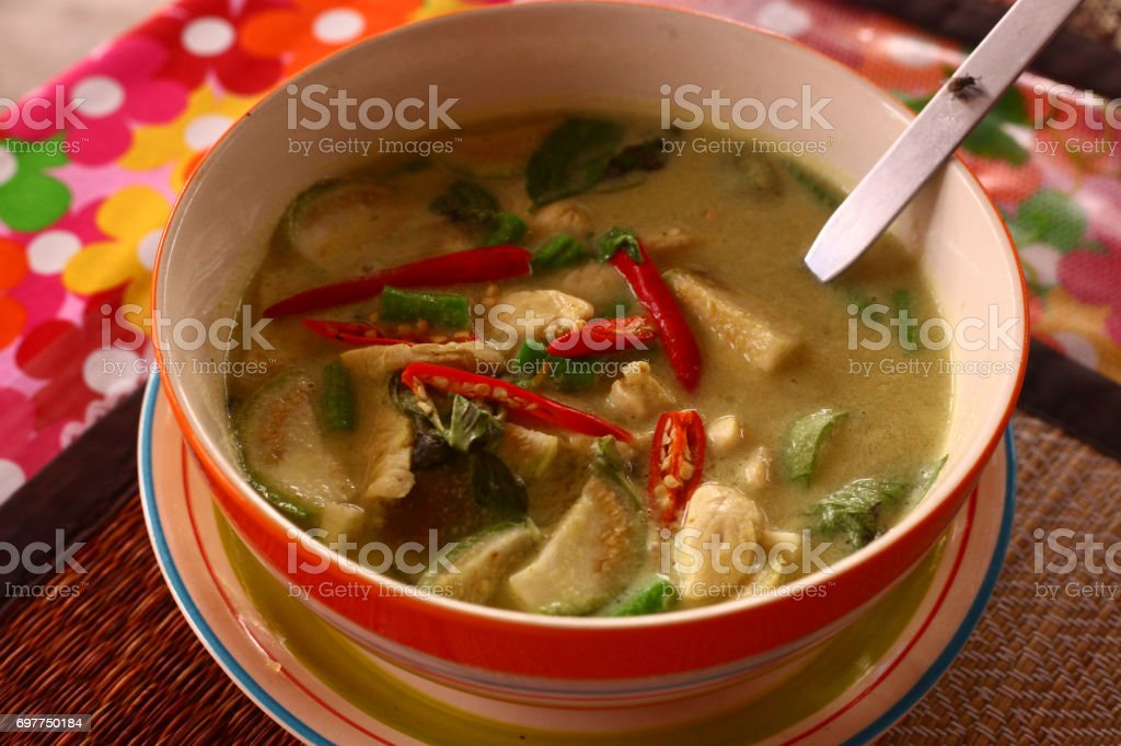 asian soup with chili pepper,curry chicken stock photo
