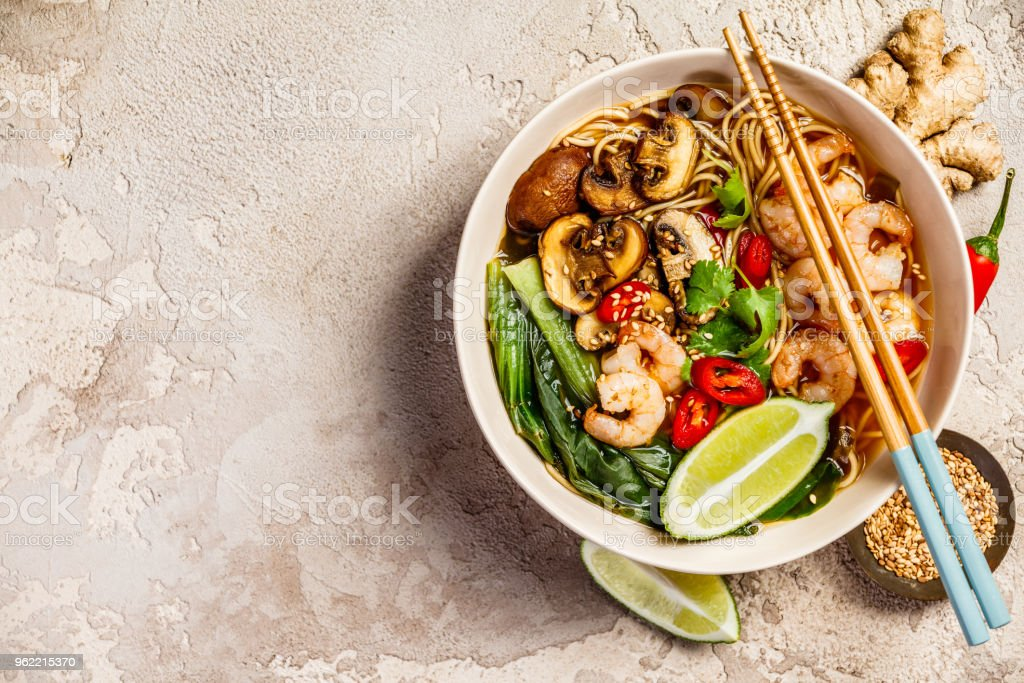 Asian soup with noodles stock photo