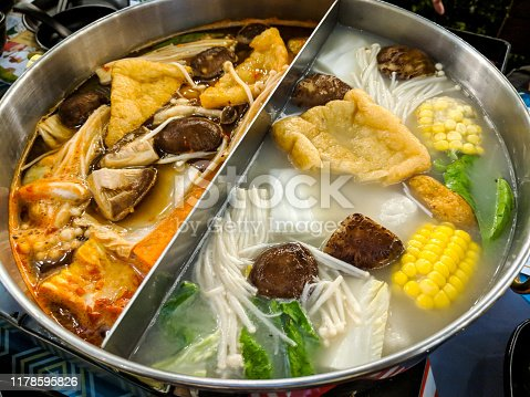 Asian steamboat hotpot filled with food