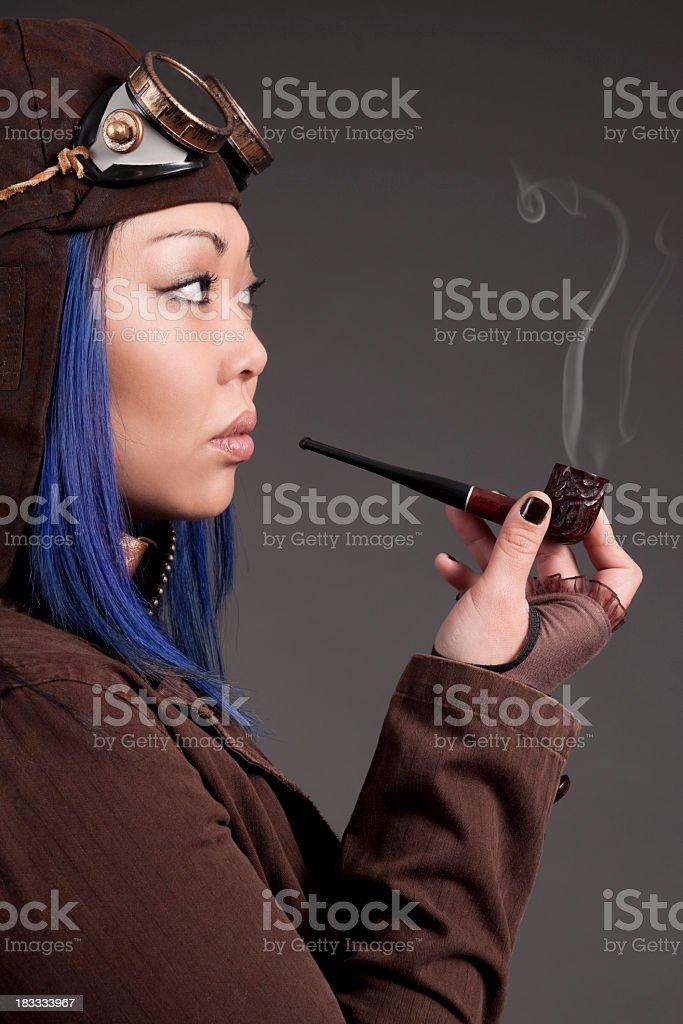 Asian steampunk model stock photo