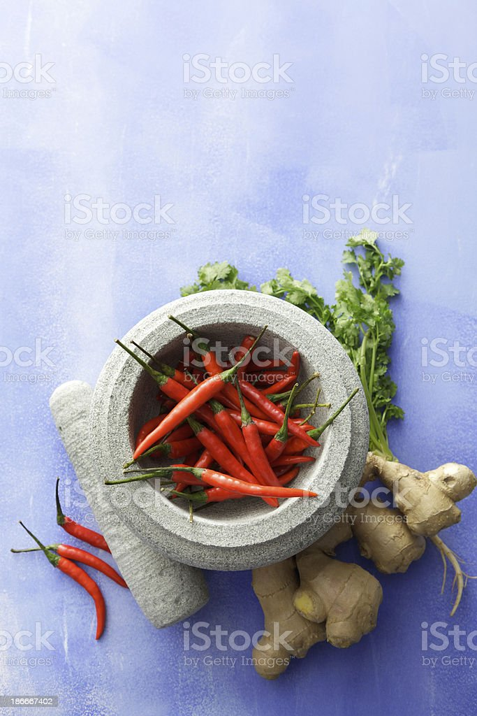 Asian Stills: Chili Pepper, Ginger and Cilantro royalty-free stock photo