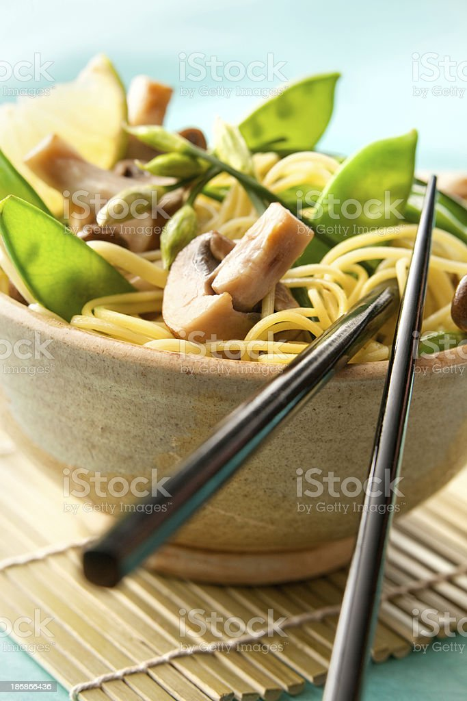 Asian Stills: Noodles, Mushroom and Vegetables royalty-free stock photo