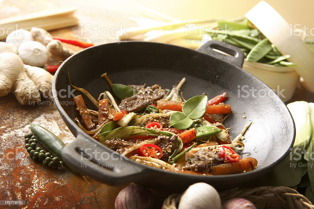 Asian Stills: Stir Fried Beef and Vegetables in Wokpan royalty-free stock photo