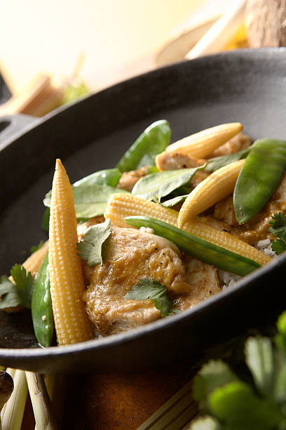 Asian Stills: Stir Fried Chicken and Vegetables in Wokpan stock photo