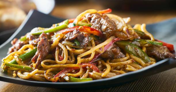 Aziatische roergebakken noedels met rundvlees paprika's en uien Panorama foto