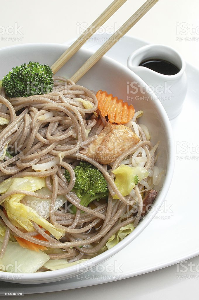 Asian stir fry noodles stock photo