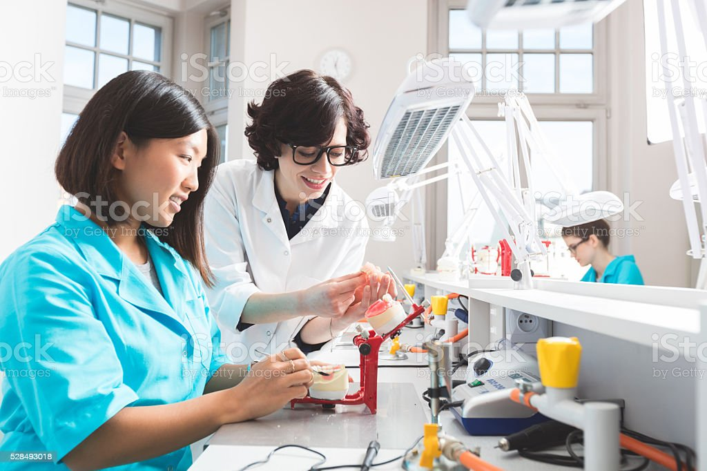 Asian student learning prosthetic dentistry, talking with teacher stock photo