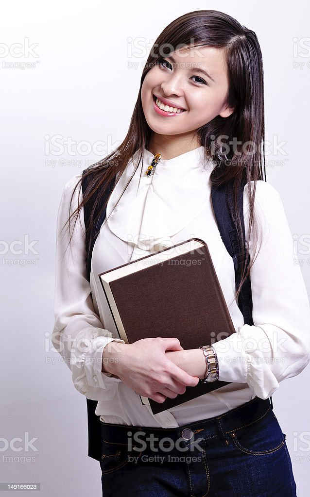 asian student with book on hand royalty-free stock photo