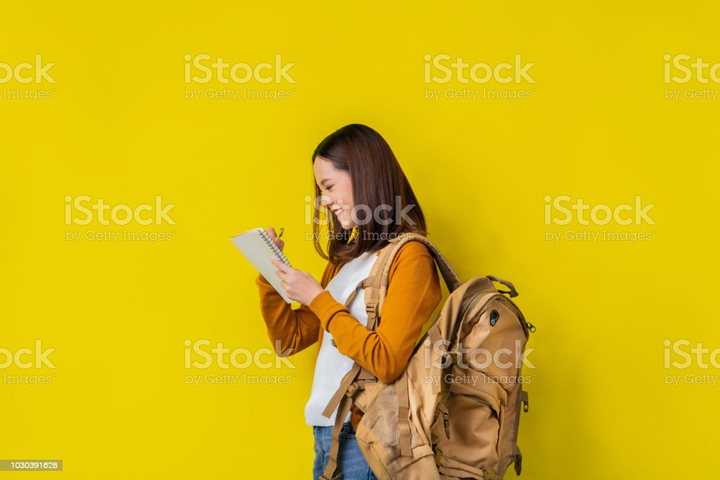 Asian students are using notebooks. stock photo