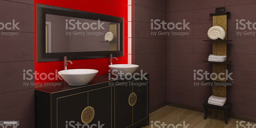 Asian style bathroom interior royalty-free stock photo