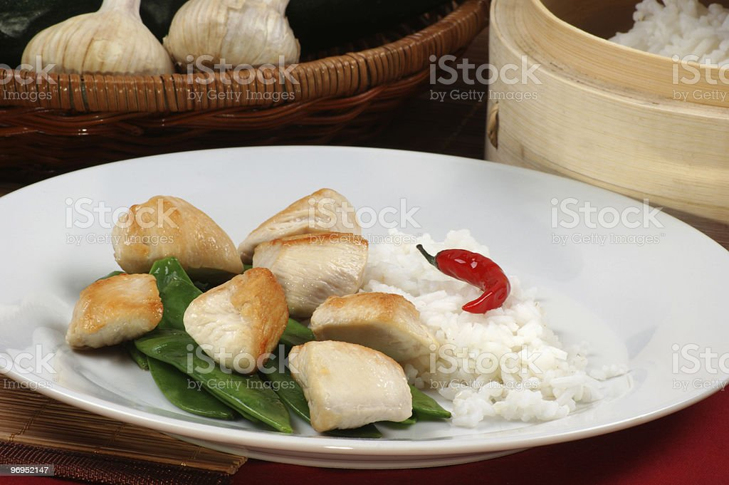 asian style chicken with mangetout and rice royalty-free stock photo