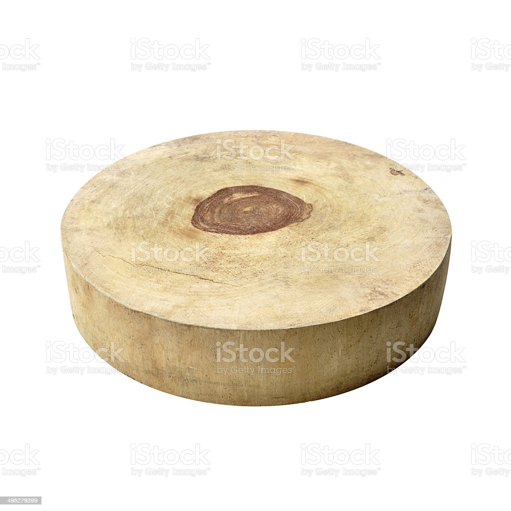 Asian style circle wood chopping block - isolated on white stock photo