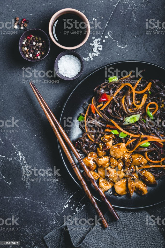 Asian style noodles stock photo
