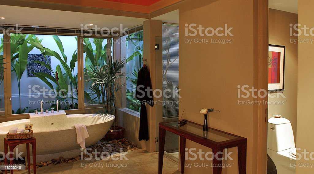 Asian Style Washroom in Tropical Setting royalty-free stock photo