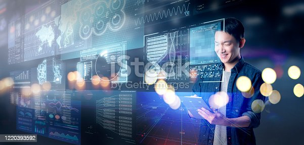1127866562 istock photo Asian success businessman with hi-tech smart gadget technology iOT internet of things, business investment graph chart 3D futuristic virtual blur background, finance business report data manage 1220393592