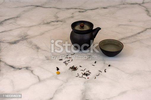 Teas set over minimal modern background