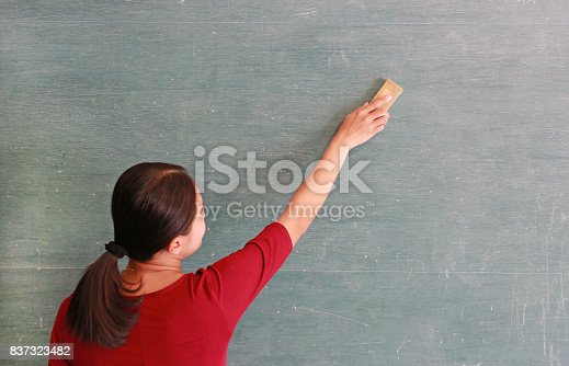 istock asian teacher erases on blackboard with board eraser in classroom, Education concept. 837323482