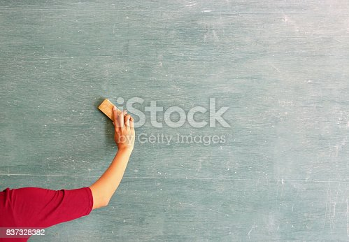 istock asian teacher erases on blackboard with board eraser in classroom, Education concept. 837328382