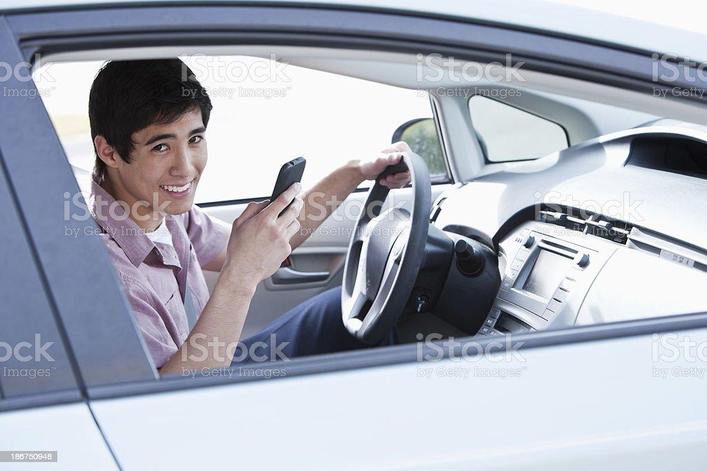 Asian teen driver stock photo