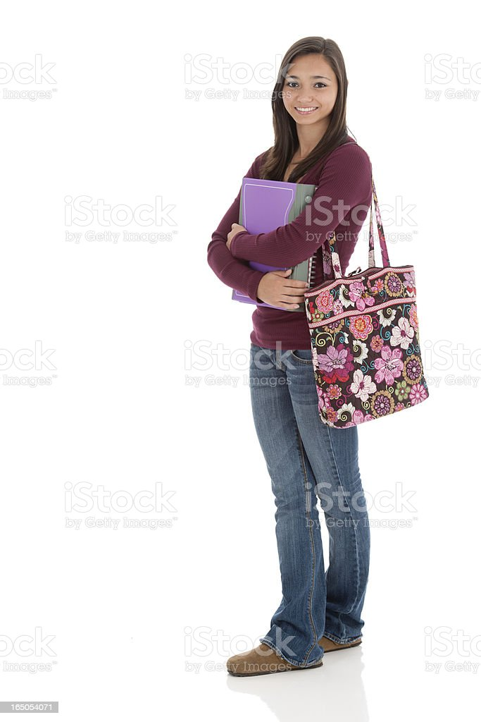 Asian Teen with Notebooks and Book Bag royalty-free stock photo
