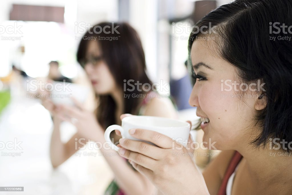 Asian Teenage Girl Close Up at Coffee Shop, Copyspace royalty-free stock photo