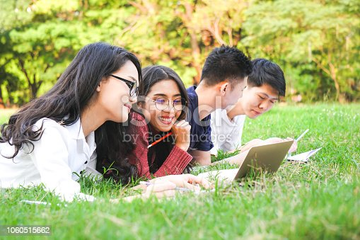 istock Asian teenage learning together in park for education concept 1060515662