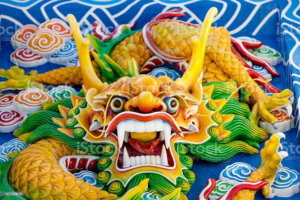 Asian temple dragon royalty-free stock photo