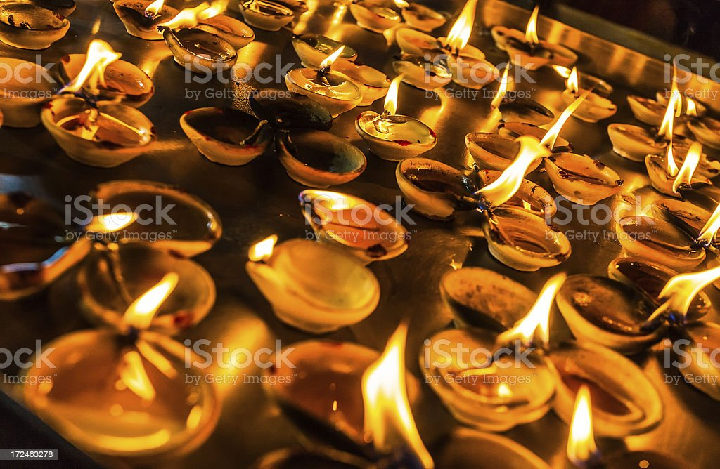 Asian Temple Praying Candles royalty-free stock photo