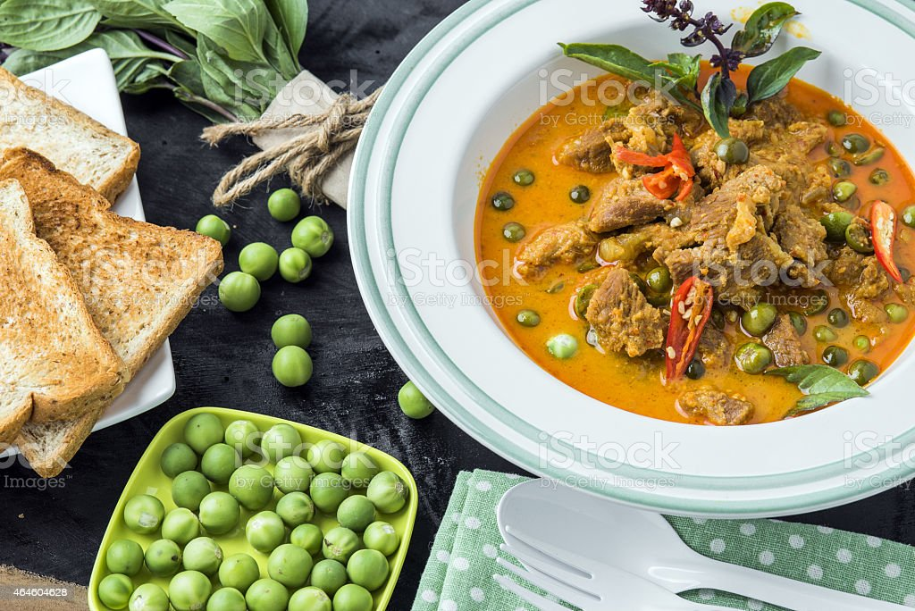 Asian Thai Food - Curry with pork stock photo