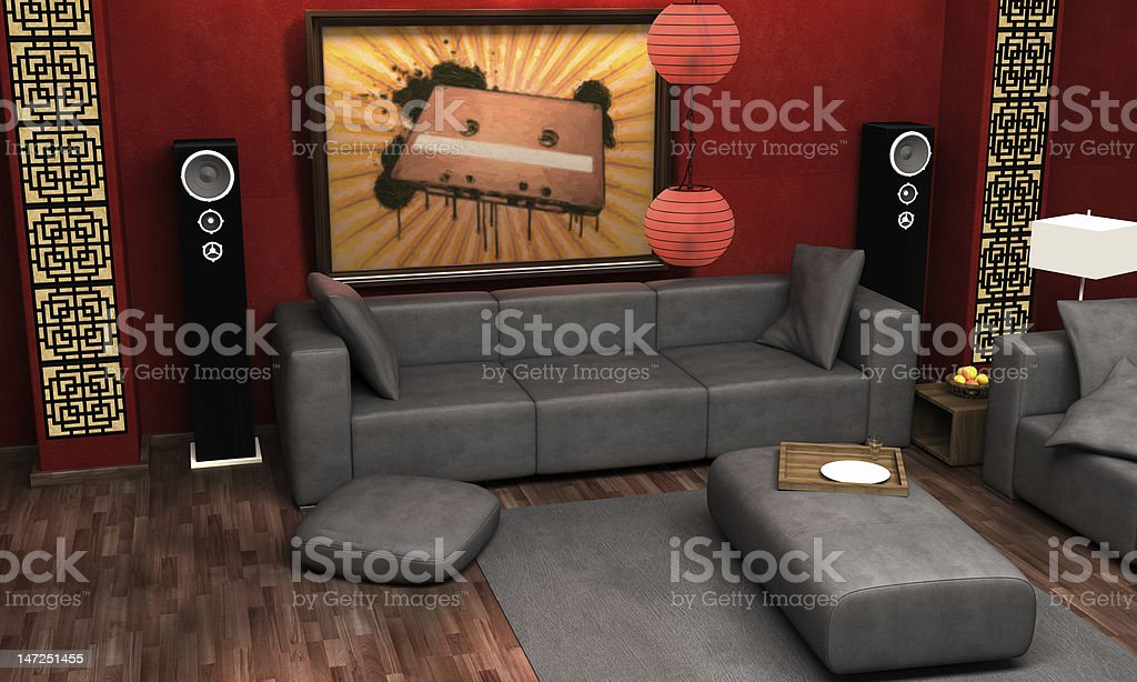 Asian themed living room. royalty-free stock photo
