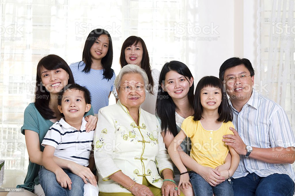 Asian three generations family stock photo
