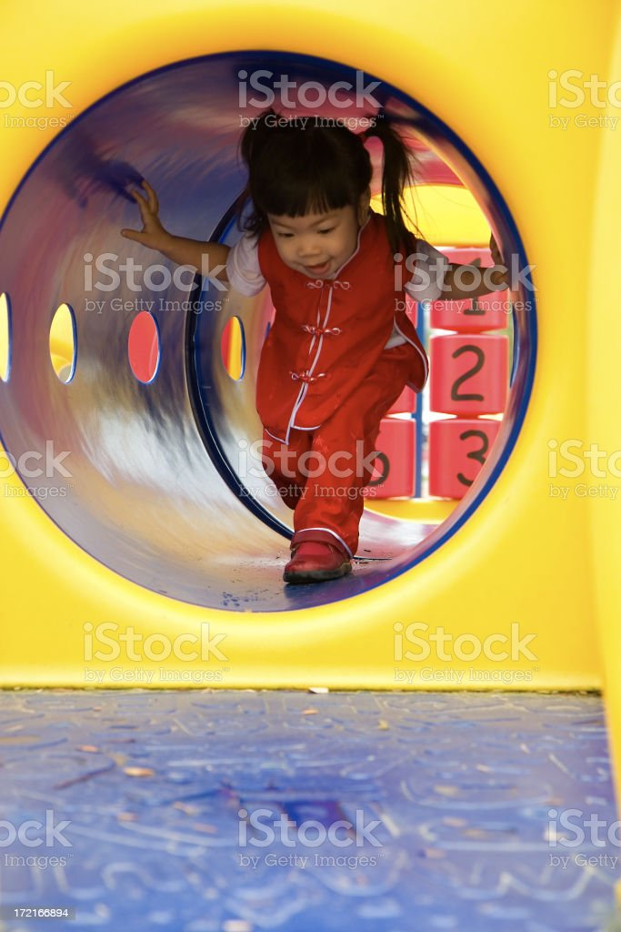 Asian Toddler Girl at Playground, Copy Space royalty-free stock photo