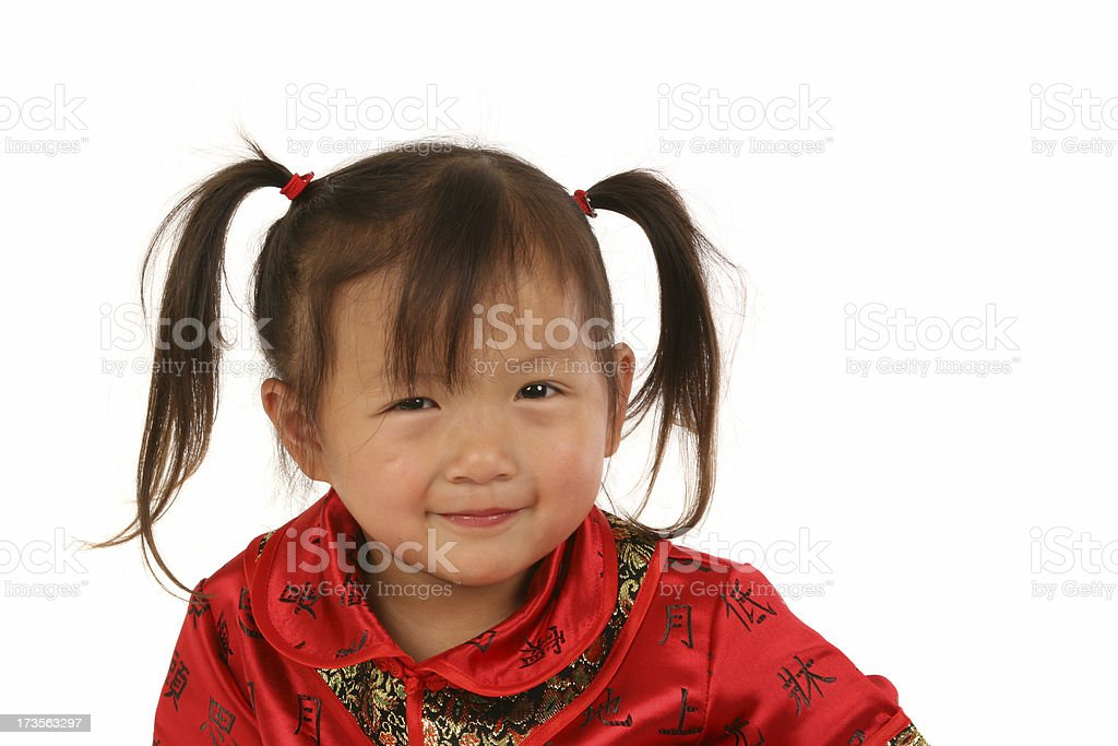 Asian toddler ready for Chinese New Year stock photo