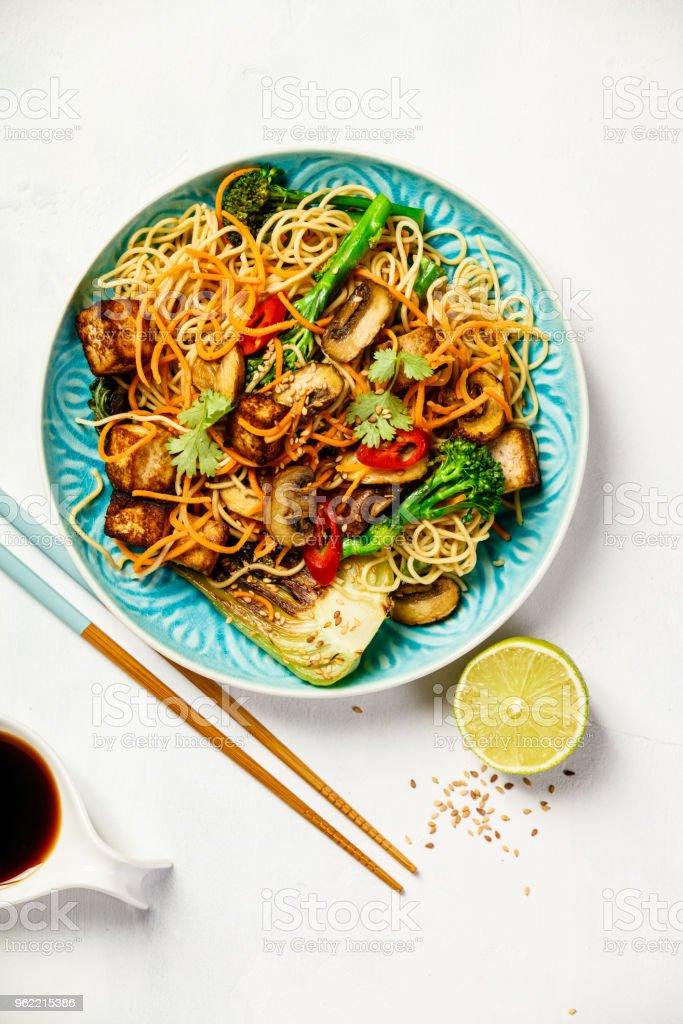 Asian Tofu Soba Noodle Bowl stock photo