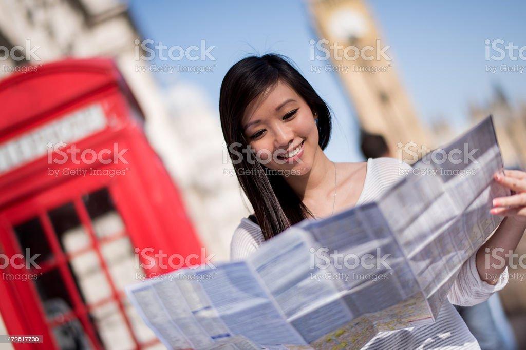 アジアの観光地を持つロンドンの地図 ストックフォト