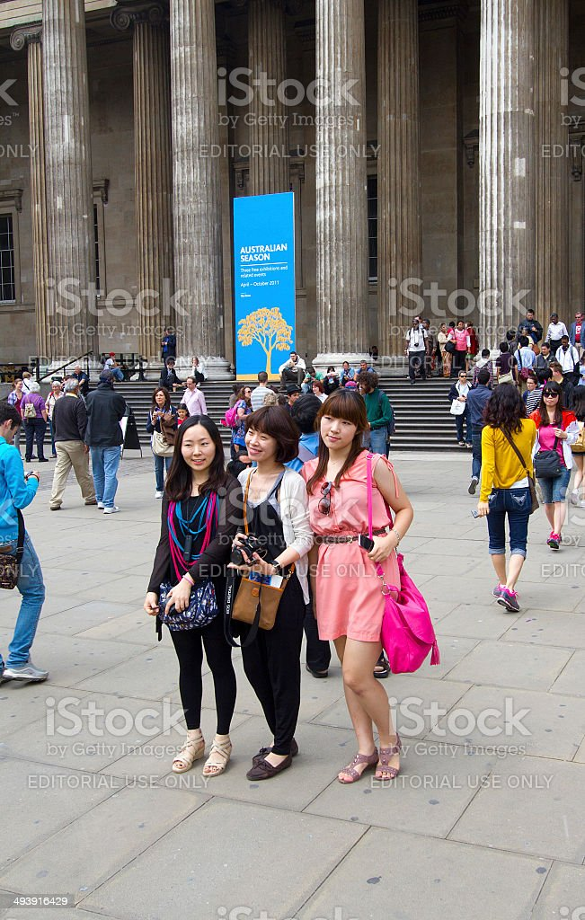 Asian Tourists at the British Museum stock photo