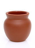 asian traditional clay pot on white background