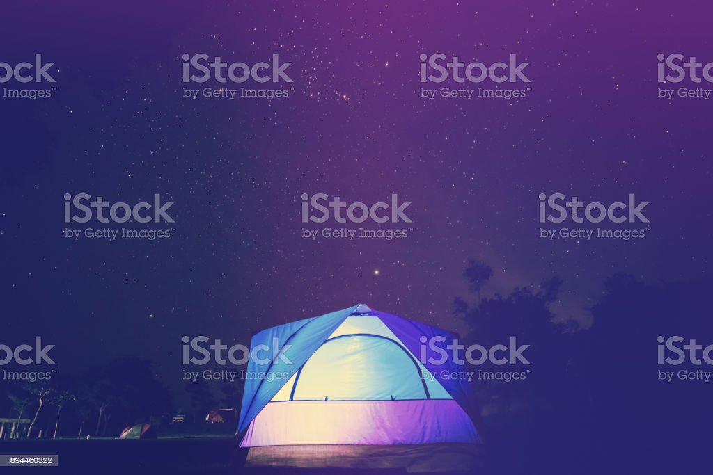 asian travel relax in the holiday. . camping on the Mountain. Sleep in a tent watch stars at night . Thailand stock photo