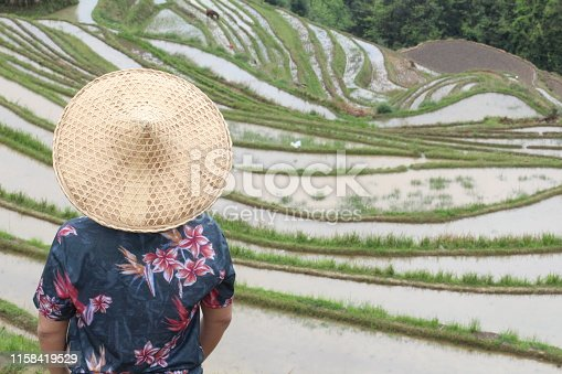 607590542istockphoto Asian villager in Asian rice terraces 1158419529