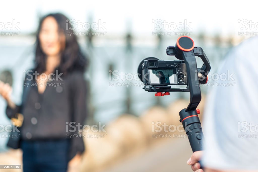 Asian vlogger making a vlog in Sydney stock photo