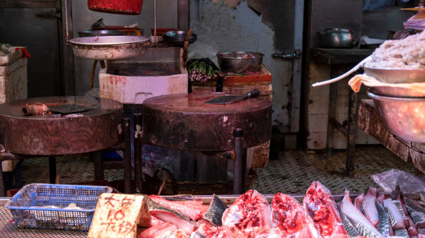 Asian wet market stall with fresh fish stock photo