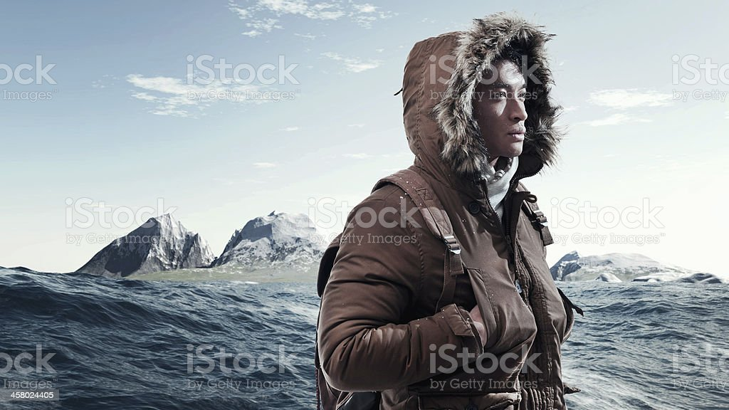 Asian winter sport fashion man with backpack. stock photo