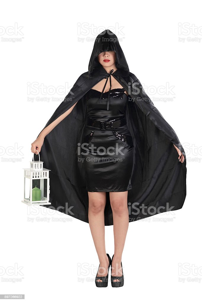 Asian witch woman holding lantern royalty-free stock photo