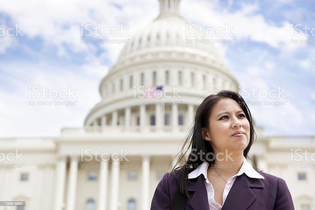 Asian Woman at US Capitol stock photo