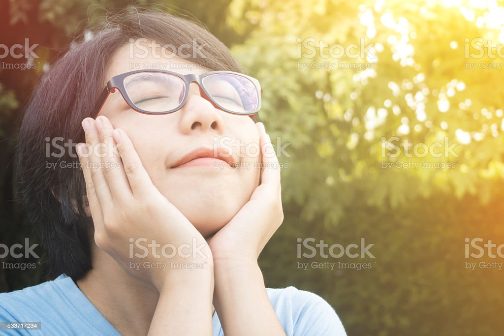 Asian woman be happy. stock photo